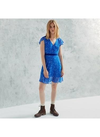 Yargıcı V Yakalı Volanlı Elbise Mavi